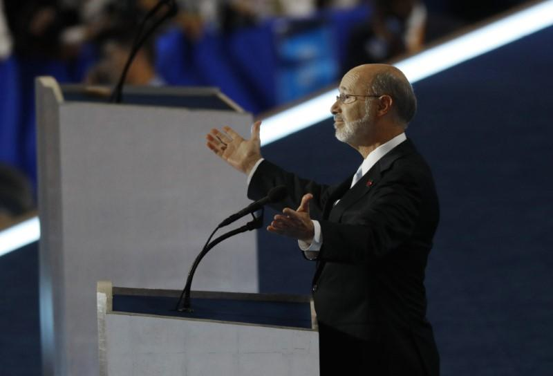 Pennsylvania Governor Tom Wolf addresses the Democratic National Convention in Philadelphia, Pennsylvania, U.S. July 28, 2016. Scott Audette