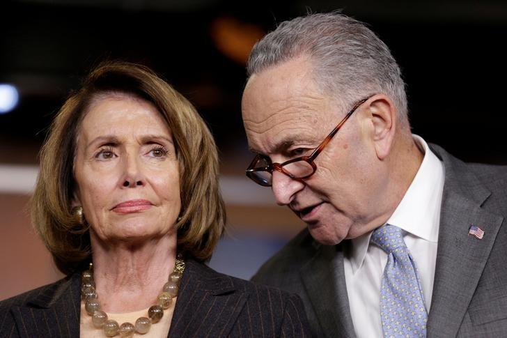 House Minority Leader Nancy Pelosi (D-CA) and Senate Minority Chuck Schumer (D-NY) speak during a briefing in reaction to Republican legislation to overhaul the tax code on Capitol Hill in Washington, U.S., November 2, 2017.   Joshua Roberts