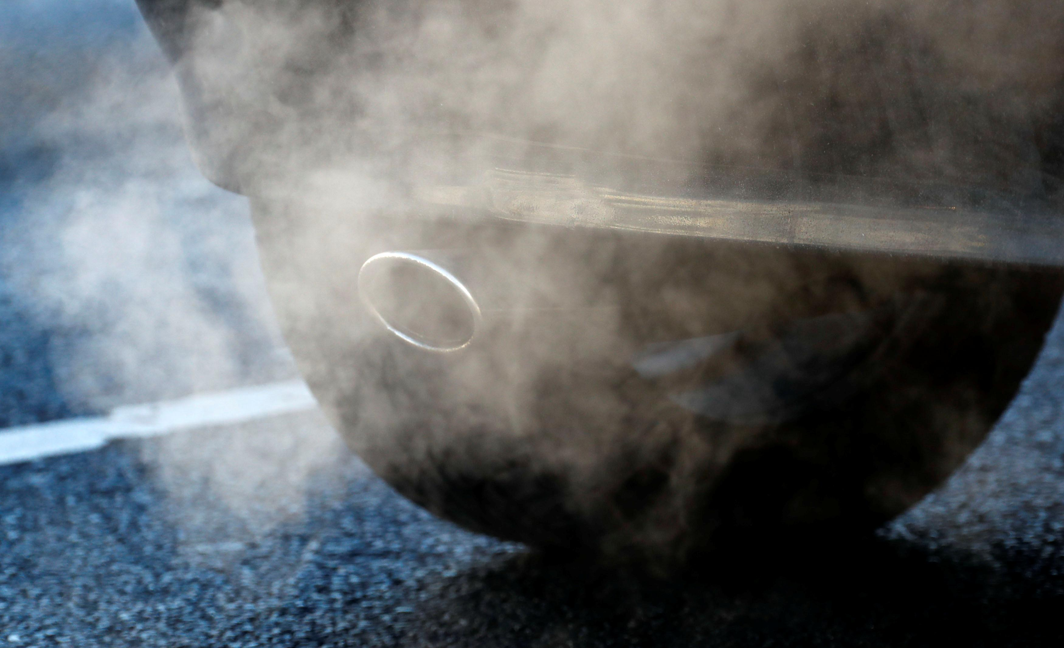 An exhaust pipe of a car is pictured on a street in a Berlin, Germany, February 22, 2018. Fabrizio Bensch
