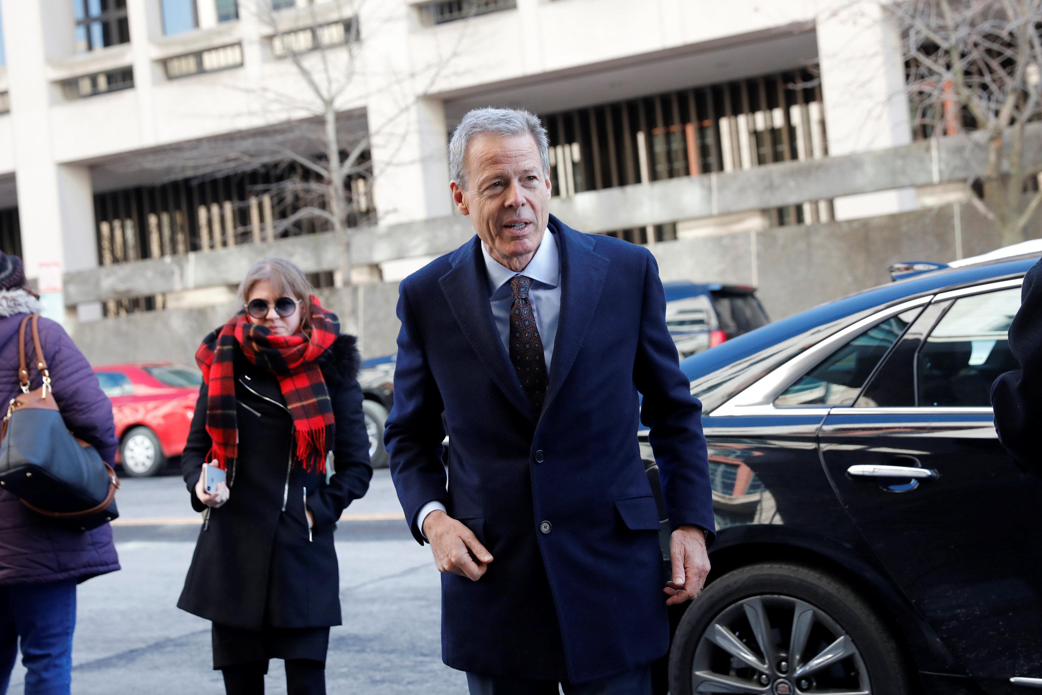 Time Warner CEO Jeff Bewkes arrives ahead of arguments in the trial to determine if AT&T's merger with Time Warner is legal under antitrust law at U.S. District Court in Washington, U.S., March 22, 2018. Aaron P. Bernstein