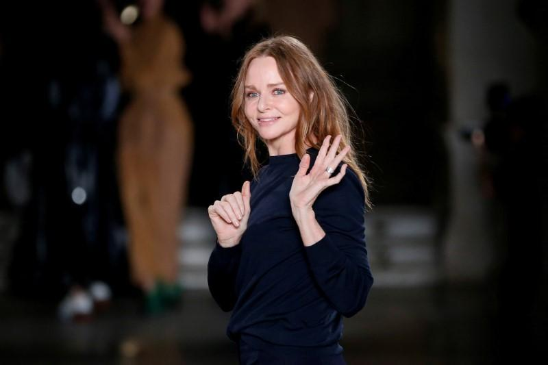 British designer Stella McCartney appears at the end of her Fall/Winter 2017-2018 women's ready-to-wear collection show during the Paris Fashion Week, in Paris, France March 6, 2017. Benoit Tessier