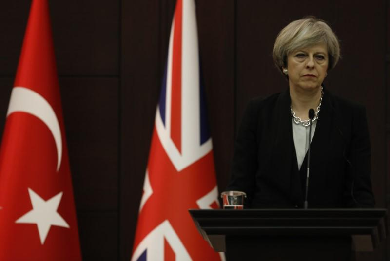 Britain's Prime Minister Theresa May at a news conference in Ankara, Turkey, January 28, 2017. May ruled out an EU customs-union link such as Turkey's when setting out her Brexit strategy in early March. Umit Bektas