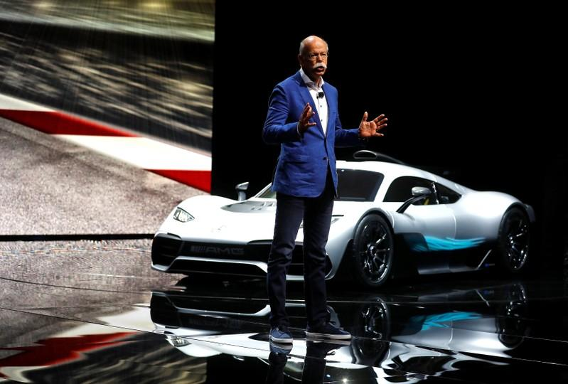 Dieter Zetsche, CEO of Mercedes car maker Daimler AG presents the new Mercedes AMG Project One car during the Frankfurt Motor Show (IAA) in Frankfurt, Germany September 12, 2017. Kai Pfaffenbach