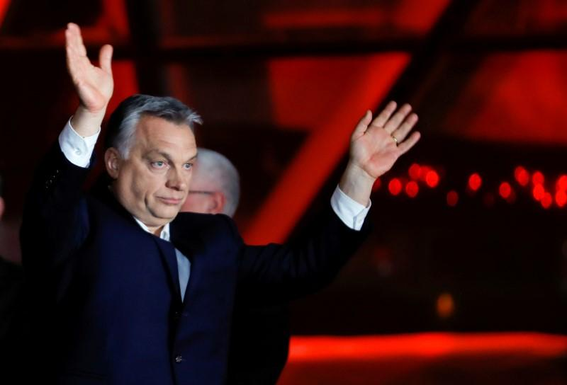 Hungarian Prime Minister Viktor Orban addresses supporters after the announcement of partial results in parliamentary elections in Budapest. April 8, 2018. Leonhard Foeger