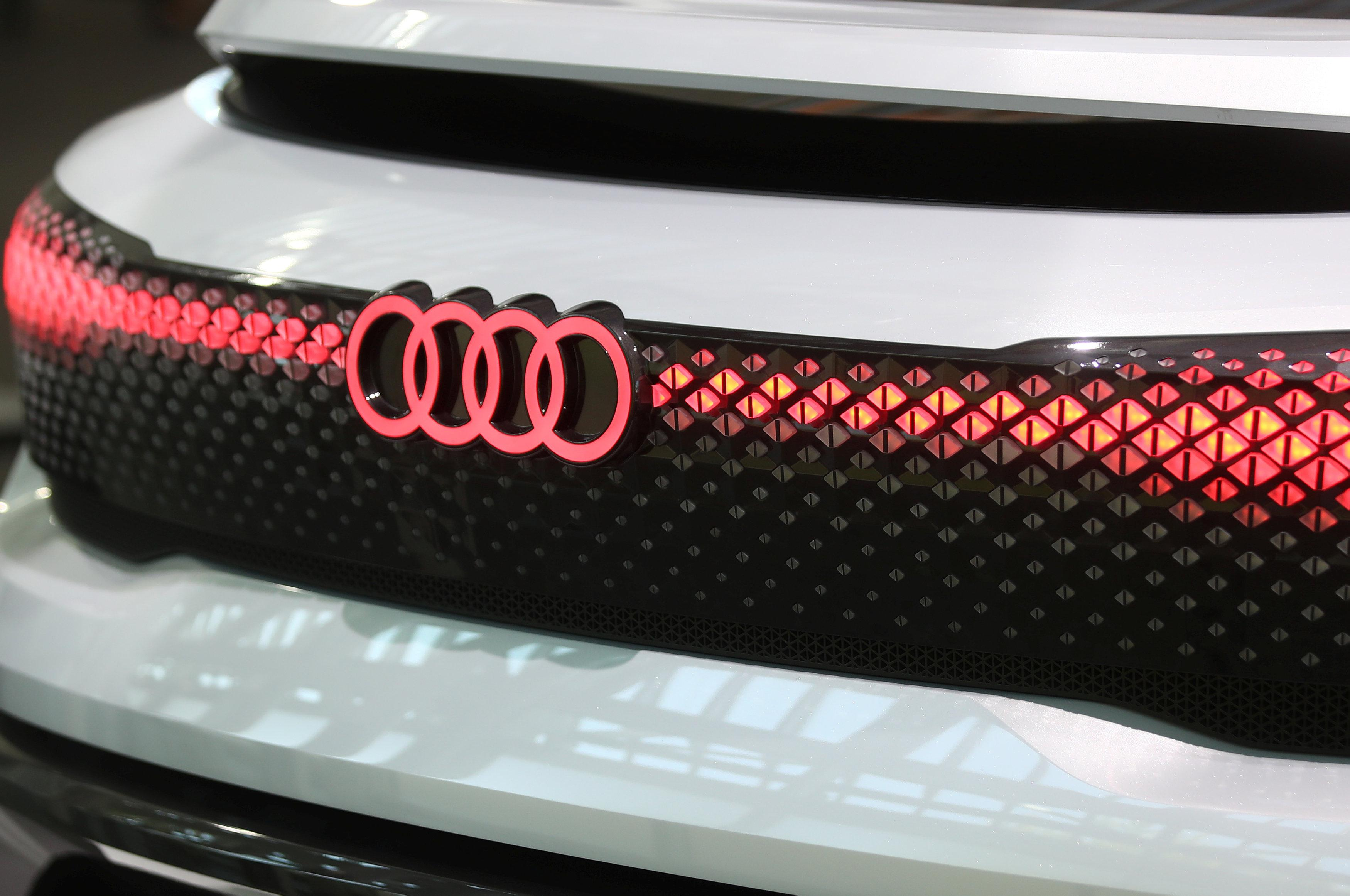 Audi sign is seen on the show car at the Audi Forum before the company