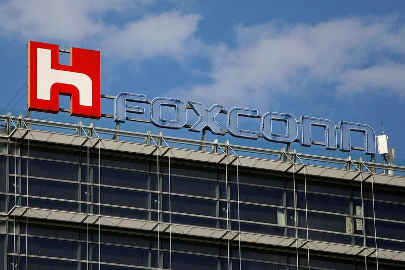 The logo of Foxconn, the trading name of Hon Hai Precision Industry, is seen on top of the company's building in Taipei, Taiwan March 30, 2018. Tyrone Siu