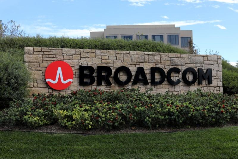 A sign to the campus offices of chip maker Broadcom Ltd, who announced on Monday an unsolicited bid to buy peer Qualcomm Inc for $103 billion, is shown in Irvine, California, U.S., November 6, 2017.  Mike Blake
