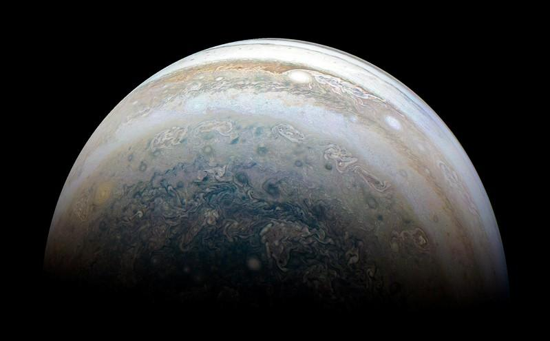 NASA's Juno spacecraft captures Jupiter's southern hemisphere, as the spacecraft performed its 13th close flyby of Jupiter on May 23, 2018.  Picture taken May 23, 2018.    NASA/JPL-Caltech/SwRI/MSSS/Kevin M. Gill/Handout via