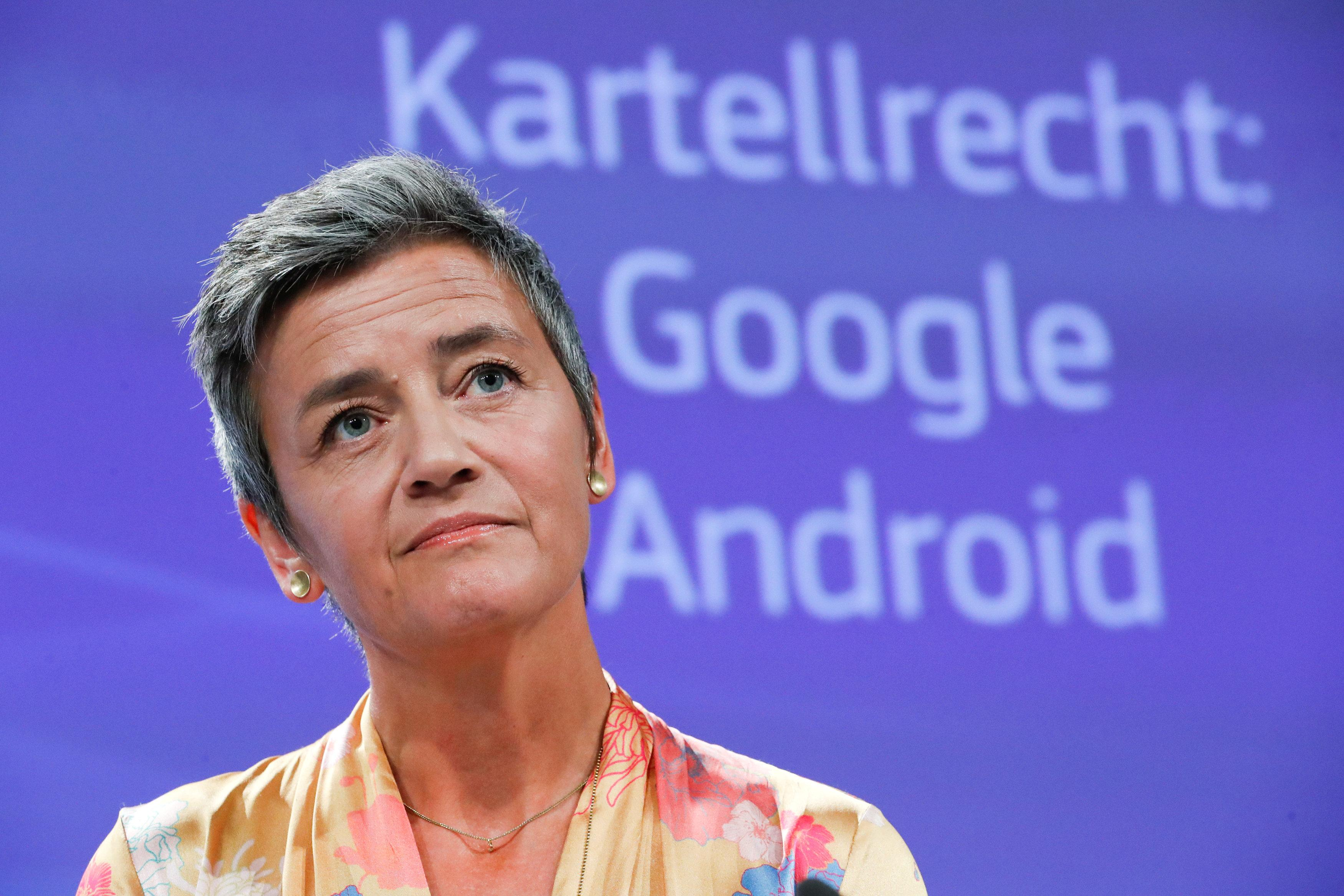 European Competition Commissioner Margrethe Vestager addresses a news conference on Google in Brussels, Belgium, July 18, 2018. Yves Herman