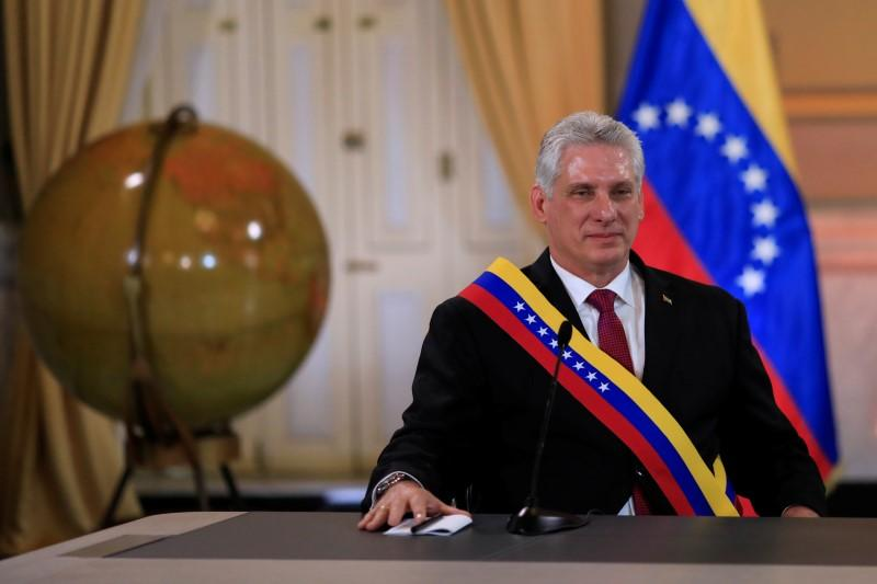 Cuba's President Miguel Diaz-Canel attends to a meeting with Venezuela's President Nicolas Maduro at the Miraflores Palace in Caracas, Venezuela May 30, 2018. Marco Bello