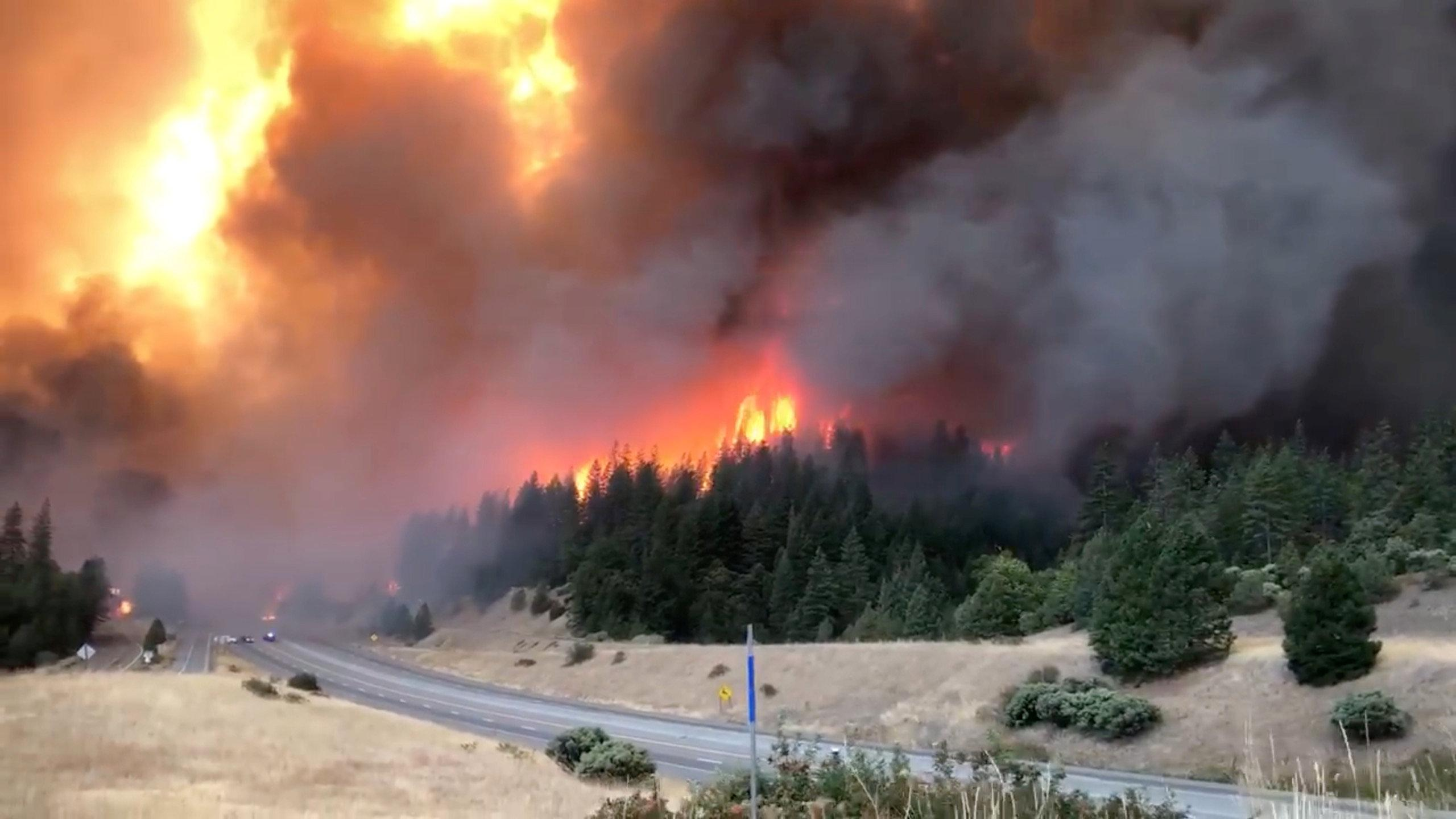 Smoke rises as the large delta fire spreads along Shasta County in California, U.S., September 5, 2018 in this picture obtained on September 6, 2018 from a social media video. CALIFORNIA HIGHWAY PATROL/via