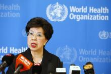 World Health Organization (WHO) Director-General Margaret Chan addresses the media after a two-day meeting of its emergency committee on Ebola, in Geneva August 8, 2014. West Africa's raging epidemic of Ebola virus is an