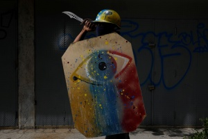 Drawing inspiration from Ukraine's 2013-14 revolt, Venezuela's young protesters are donning Viking-like shields in battles with security forces and eagerly watching a film on the Kiev uprising.