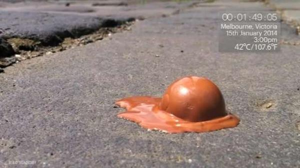 Australia's extreme heat melts chocolate in under 3 minutes