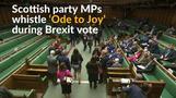 Scottish lawmakers sing EU anthem during Brexit vote
