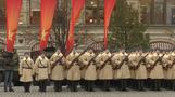 Thousands march in re-enactment of historic military parade in Moscow