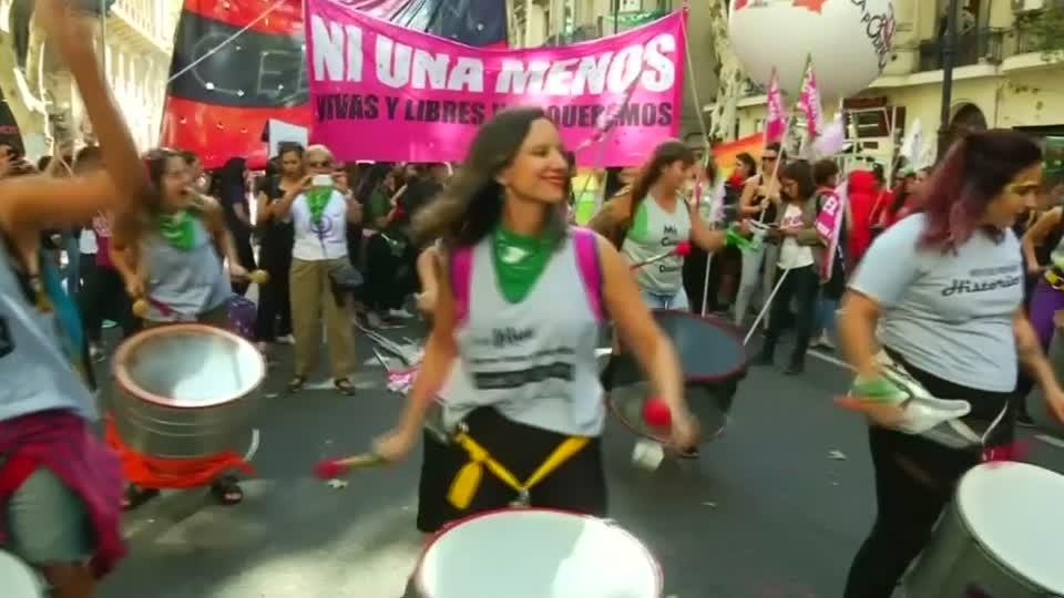 Thousands protest on International Women's Day in Buenos Aires