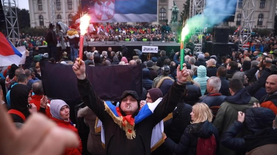 Thousands rally in Belgrade to protest against Serbian
