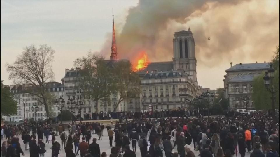 Notre-Dame Cathedral's spire collapses