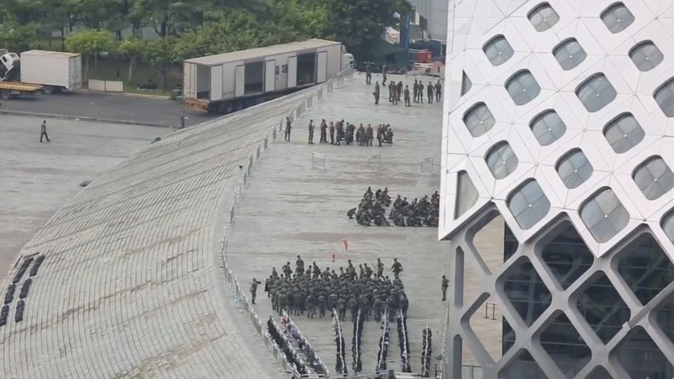 Chinese paramilitary forces exercise near Hong Kong border