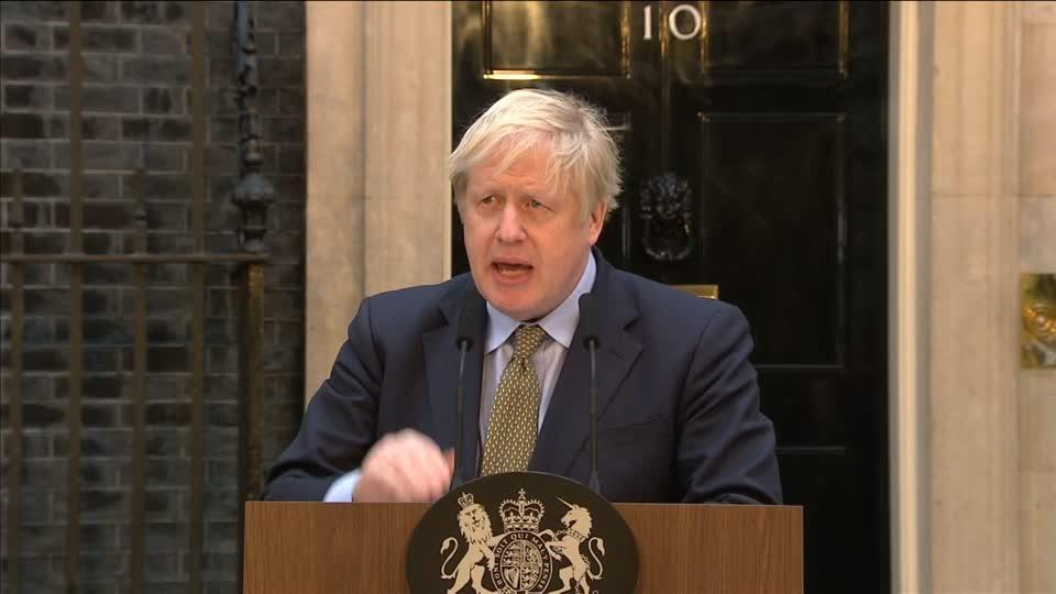 Boris Johnson speaks from Downing Street after landslide election win