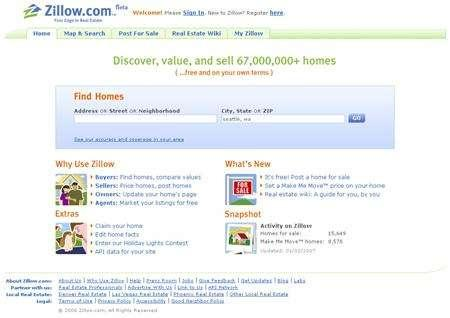 An undated handout of the Zillow.com homepage. U.S. property comparison Web site Zillow.com is giving home owners, prospective buyers and real estate agents a new way to discuss property valuations via a question-and-answer format, the company said on Tuesday. REUTERS/Zillow.com/Handout