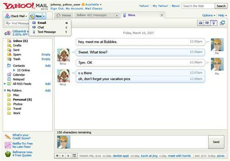 Yahoo Mail lets e-mailers text-message to phones | Reuters com