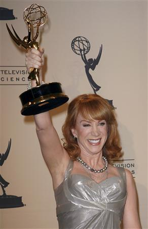 Actress and comedian Kathy Griffin celebrates her Emmy win in ''Outstanding Reality Program'' for ''My Life on the D-List'' during the Primetime Creative Arts Emmy Awards in Los Angeles September 8, 2007. A provocative comment about Jesus made by Griffin when she accepted the award on stage will be cut from a pre-taped telecast of the show, the Academy of Television Arts & Sciences said on September 11, 2007. REUTERS/Gus Ruelas/Files