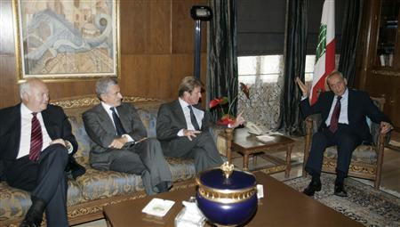Lebanon's Parliament Speaker Nabih Berri (R) meets Foreign Ministers Bernard Kouchner (2nd R) of France, Massimo D'Alema (2nd L) of Italy and Miguel Angel Moratinos of Spain in his house in Beirut October 20, 2007. REUTERS/Mohamed Azakir