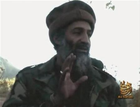 A file video grab from an undated footage from the Internet shows Al Qaeda leader Osama bin Laden making statements from an unknown location. Al Qaeda remains the major terrorist threat to the European Union and a fresh attack by Islamist militants is likely, the bloc's new anti-terrorism chief said on Monday. REUTERS/REUTERS TV
