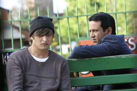 Actors Jimmy Shergill (L) and Kay Kay Menon on the sets of ''Strangers''. REUTERS/Handout