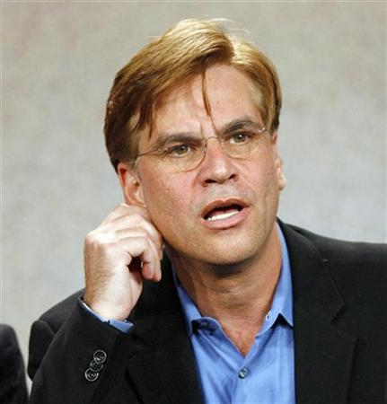 Writer and executive producer Aaron Sorkin gestures at the panel for the NBC television series ''Studio 60 on the Sunset Strip'' at the ''Television Critics Association'' summer 2006 media tour in Pasadena, California, July 21, 2006. REUTERS/Mario Anzuoni