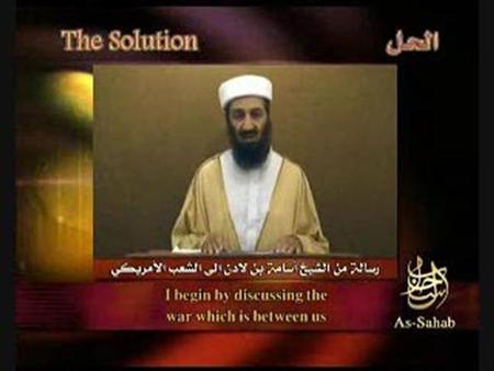 Al Qaeda leader Osama bin Laden speaks in a video released on a web site September 7, 2007. REUTERS.