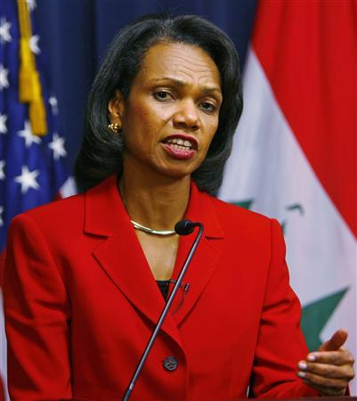 Secretary of State Condoleezza Rice speaks to reporters at a news conference in Baghdad, December 18, 2007. REUTERS/Bob Strong