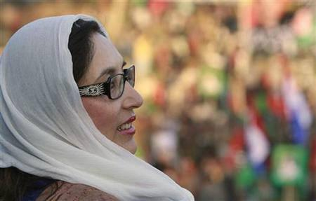 Pakistan's former Prime Minister and opposition leader Benazir Bhutto attends an election rally in Rawalpindi December 27, 2007, shortly before she was killed in a gun and bomb attack. REUTERS/Mian Khursheed/Files