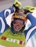 <p>Chiara Costazza festeggia la vittoria allo slalom speciale di Coppa del Mondo a Lienz REUTERS/Leonhard Foeger</p>