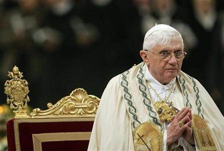 Pope Benedict XVI leads a Vesper prayer at Saint Paul Basilica in Rome January 25, 2008. The Pope warned on Monday of the ''seductive'' powers of science that relegate man's spirituality, reviving the science-versus-religion debate which recently forced him to cancel a speech after student protests. REUTERS/Dario Pignatelli