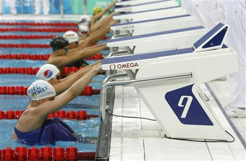 Australia against new starting blocks for beijing reuters for Swimming pool starting blocks dimensions