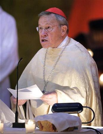 Walter Cardinal Kasper, President of the Pontifical Council for Promoting Christian Unity, reads at the funeral service for Taize founder Brother Roger, in Taize, eastern France August 23, 2005. Kasper on Thursday denied a new prayer for their conversion was offensive and said Catholics had the right to pray as they wish. REUTERS/Robert Pratta