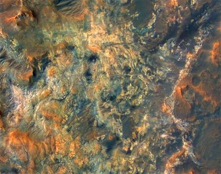 Materials and morphologies are shown in the region south of Mawrth Vallis on Mars, taken by NASA's Mars Reconnaissance Orbiter spacecraft, in this October 1, 2006 handout file photo. REUTERS/NASA/JPL/Univ. of Arizona