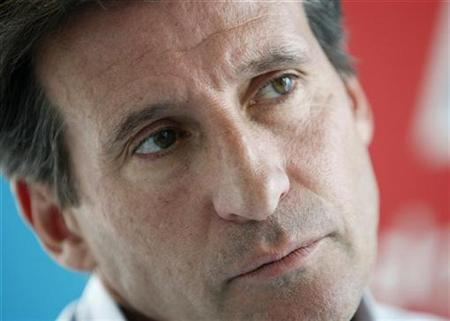 In this file photo Sebastian Coe, head of the London 2012 Games, attends an interview with Reuters at the 2012 headquarters in Canary Wharf, London August 1, 2007. Athletics was in danger of being destroyed by drugs cheats, Britain's twice Olympic middle-distance champion Coe said on Tuesday. REUTERS/Stephen Hird