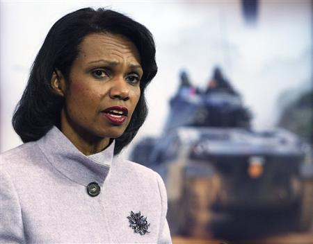 Secretary of State Condoleezza Rice holds a news conference during a NATO foreign ministers meeting at the Alliance's headquarters in Brussels March 6, 2008. Rice has faced pressure for months to engage Hamas and this week she gave Egypt the nod to negotiate with them to end violence in Gaza. REUTERS/Francois Lenoir
