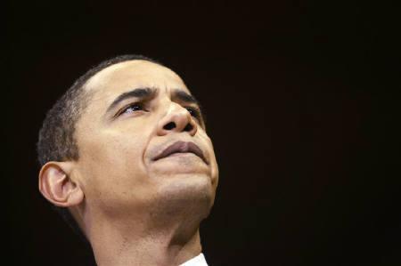 3月10日、米大統領選の民主党候補指名を目指すオバマ上院議員(写真)は、ライバルのクリントン上院議員が明かした自分が大統領候補となりオバマ氏を副大統領に指名する構想を、ばかげたアイディアだと批判。7日撮影(2008年 ロイター/Rick Wilking)