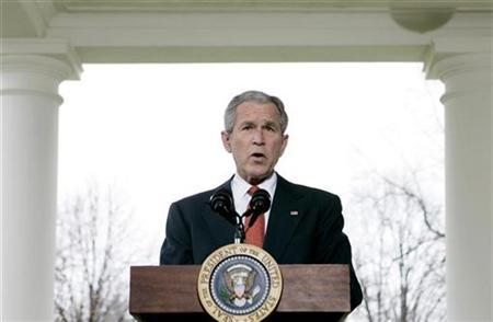 President George W. Bush makes a statement about the economy outside of the Oval Office at the White House in Washington, March 7, 2008. Bush's fellow Republicans in Congress on Tuesday upheld his veto of a bill to ban the CIA from subjecting enemy detainees to interrogation methods denounced by critics as torture. REUTERS/Larry Downing