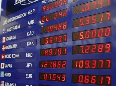 3月12日、外為市場では、米欧の協調資金供給策でもドルの先安見通しは変わらないとの見方が大勢。写真は昨年9月にニューヨークで撮影(2008年 ロイター/Brendan McDermid)