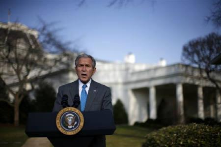 U.S. President George W. Bush makes remarks on the Foreign Intelligence Surveillance Act at the White House in Washington, March 13, 2008. REUTERS/Jim Young
