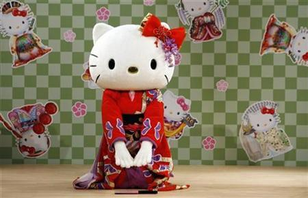 File photo shows a performer dressed as a Hello Kitty mascot wearing a kimono performs a classical Japanese dance at a event named ''Let's learn Japanese culture with Hello Kitty'' at Tamagawa Takashimaya shopping center in Tokyo September 2, 2007. REUTERS/Toru Hanai