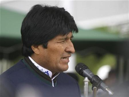 Bolivian President Evo Morales speaks during a military ceremony celebrating the anniversary of the General Gualberto Villarroel Military School in La Paz April 18, 2008. REUTERS/Gaston Brito