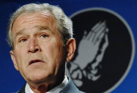 U.S. President George W. Bush is seen in Washington April 18, 2008. Bush made a highly unusual appearance on U.S. television game show ''Deal or No Deal'' on Monday, seeking show host Howie Mandel's help to deal with the federal budget in upcoming talks with Congress. REUTERS/Jonathan Ernst