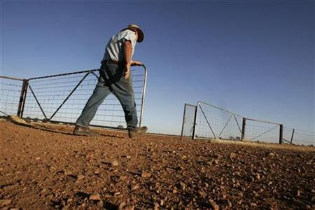 Grains farmer John Ridley closes a gate on his farm near the town of West Wyalong October 16, 2007. REUTERS/Mick Tsikas